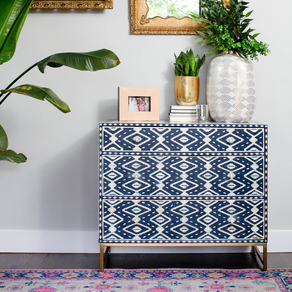 Anthropologie blue and white dresser