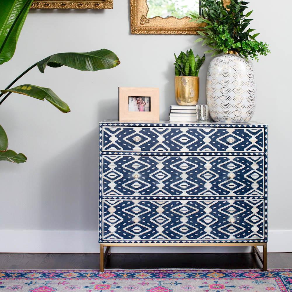 Anthropologie blue and white dresser