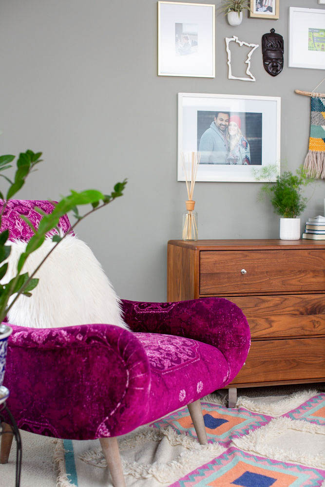 Master Bedroom with Fuchsia Accent Chair