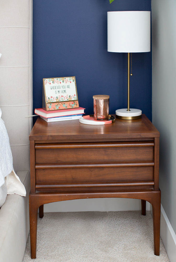 Tips to Decorate You Master Bedroom - Navy Accent Wall Bedroom -Vintage Nightstand