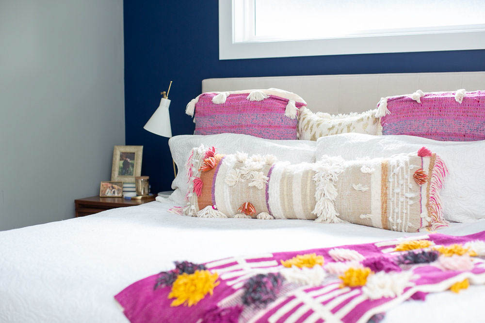 Bright Navy and Pink Bedroom with Anthropologie Tassel Bedding