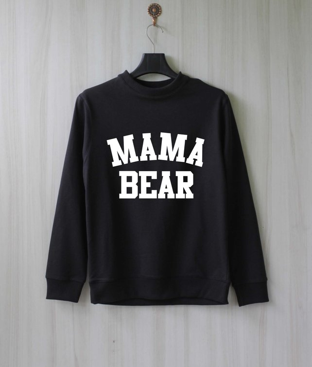 A roundup of the best mom shirts on Etsy including this mama bear long sleeve in black! #mamabear #momlife #momtee