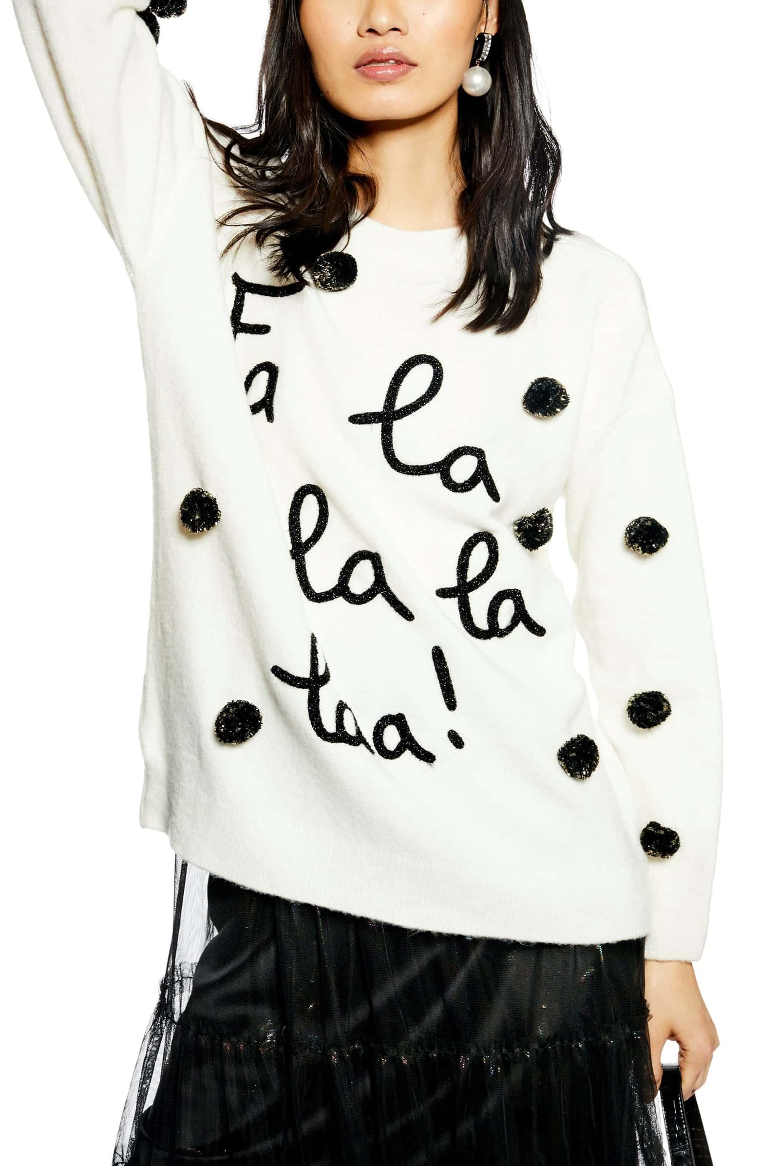 Women's Christmas Sweaters - fa la la laa