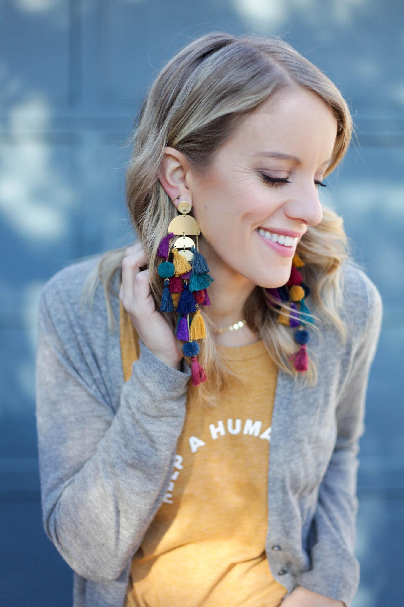 Fall color tassel earrings #earrings #tassels #tasselearrings