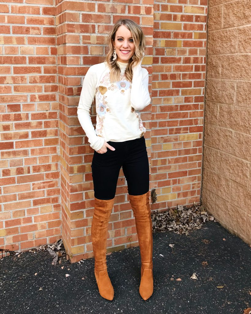 how to wear thigh high boots without looking trashy - free people embroidered top and tan boots