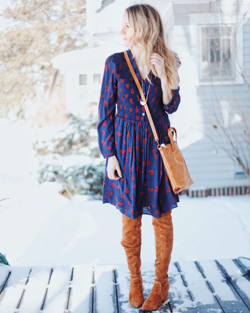 how to wear thigh high boots without looking trashy - heart dress and able leather bag