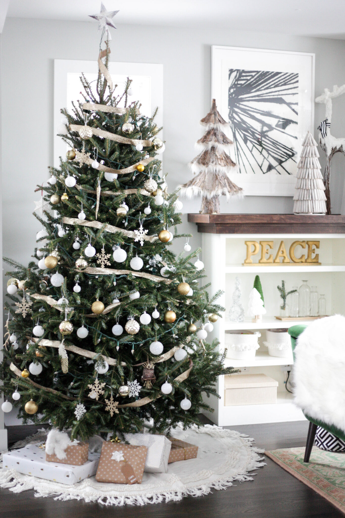 Balsam fir christmas tree - white , gold and silver