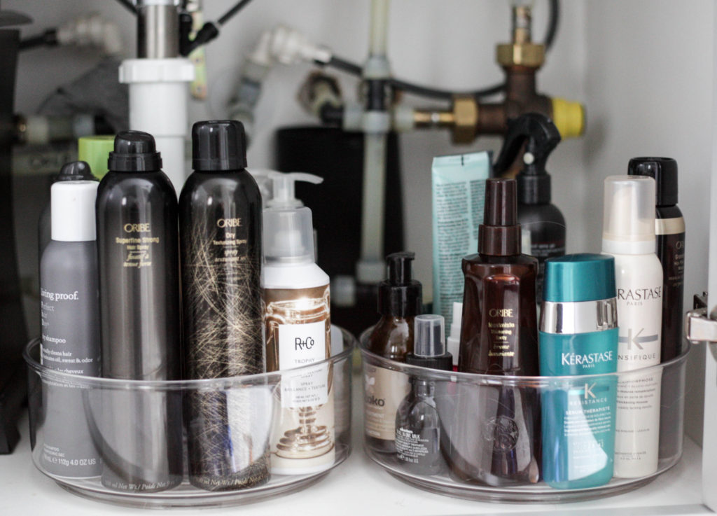 how to organize your hair products - organizing your hair products with a lazy susan