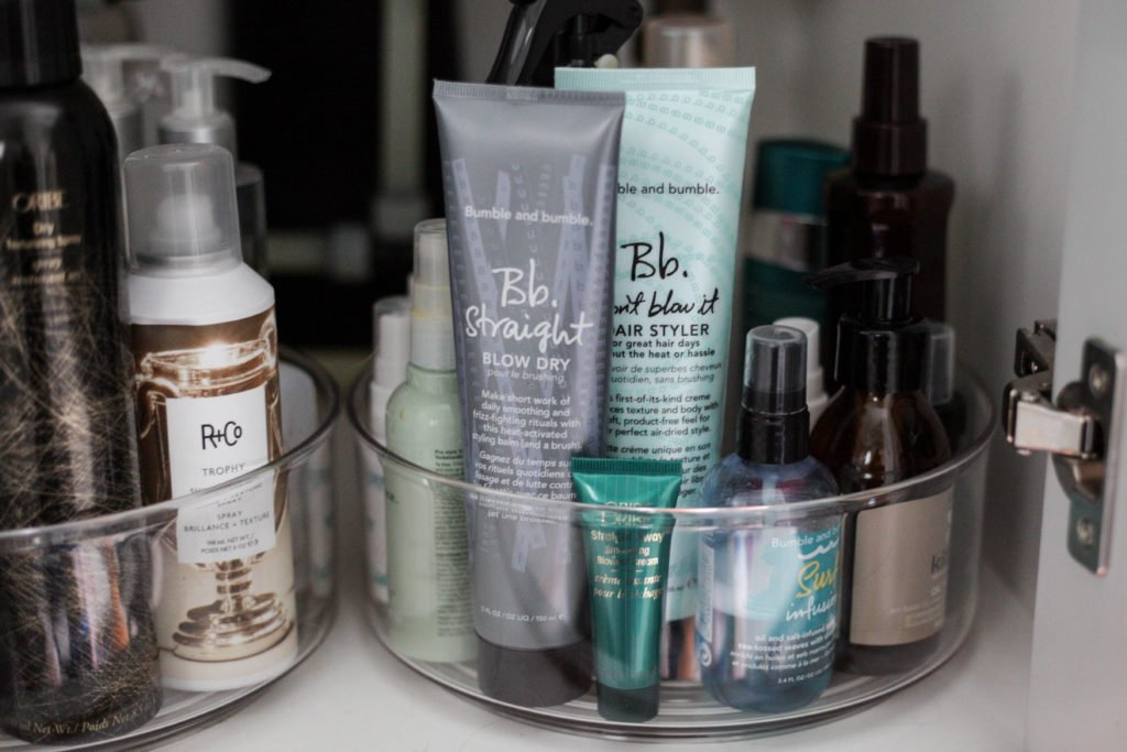 organizing your hair products with a lazy susan