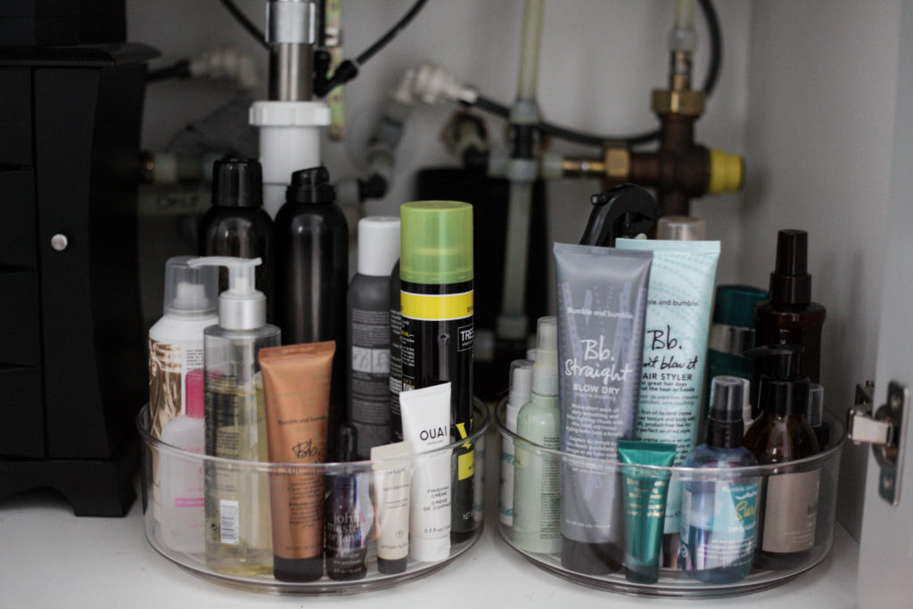 how to organize your hair products easily