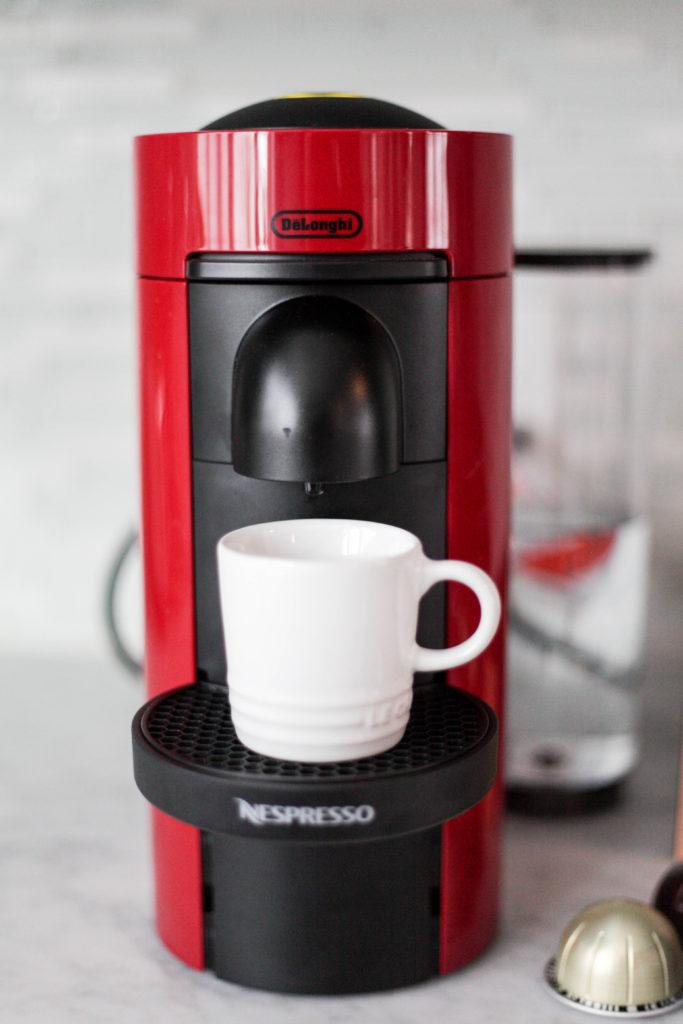 Making a shot of espresso with a Nespresso Vertuo Plus
