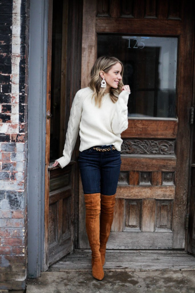 A cute, casual outfit with thigh high boots and a cream sweater. Perfect for work!