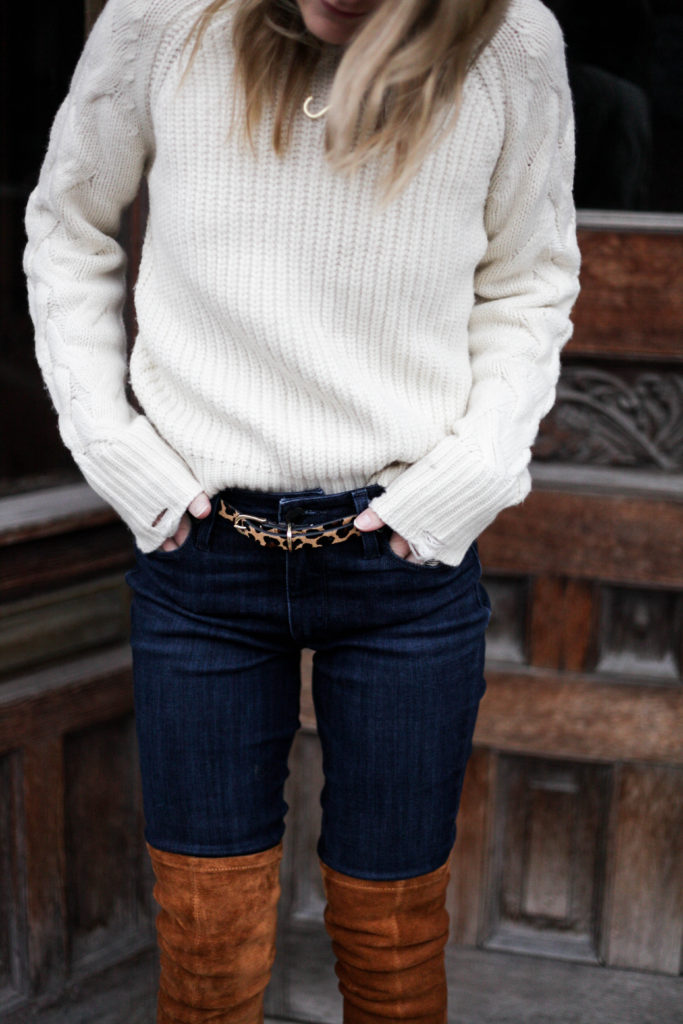 Thigh high boots with jeans paired with a cozy white sweater and leopard boot is one way to keep things work appropriate and casual