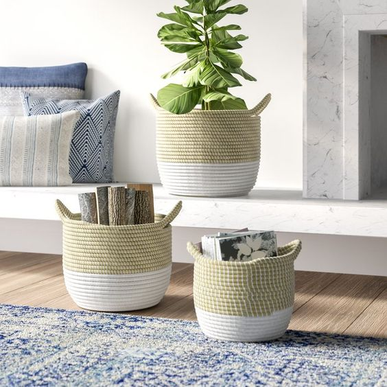 Boho Home Decor - 3 basket set for home storage