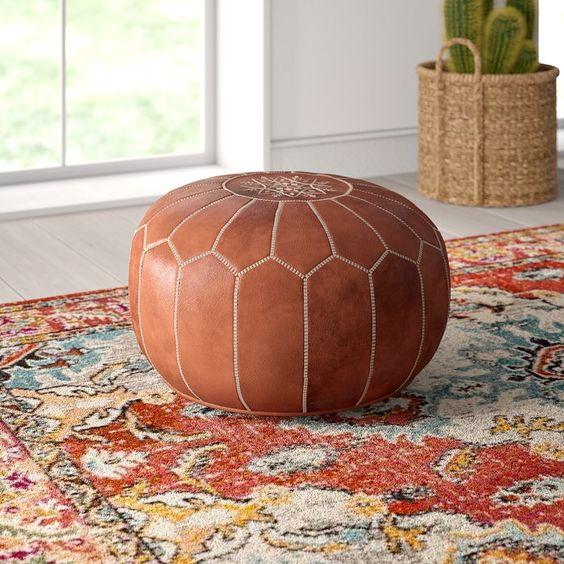 Boho Home Decor - leather pouf perfect for any room #boho #bohohomedecor