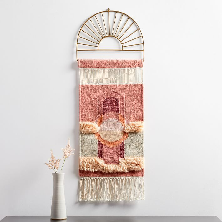 Boho Home Decor - woven wall tapestry in pink, peach and gold