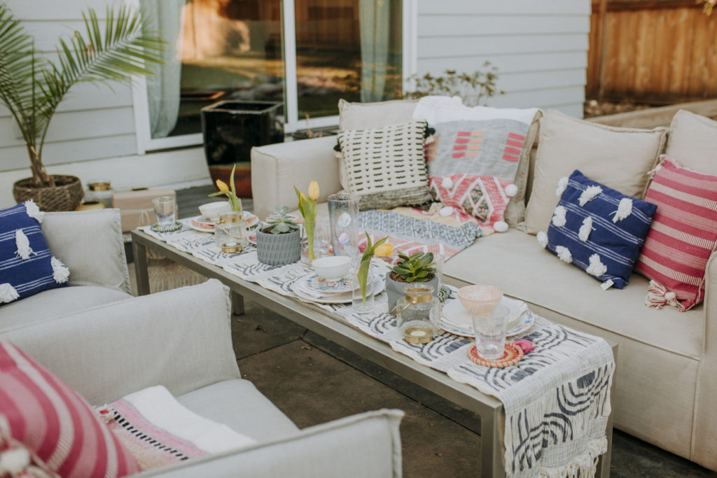 Colorful boho style outdoor entertaining party