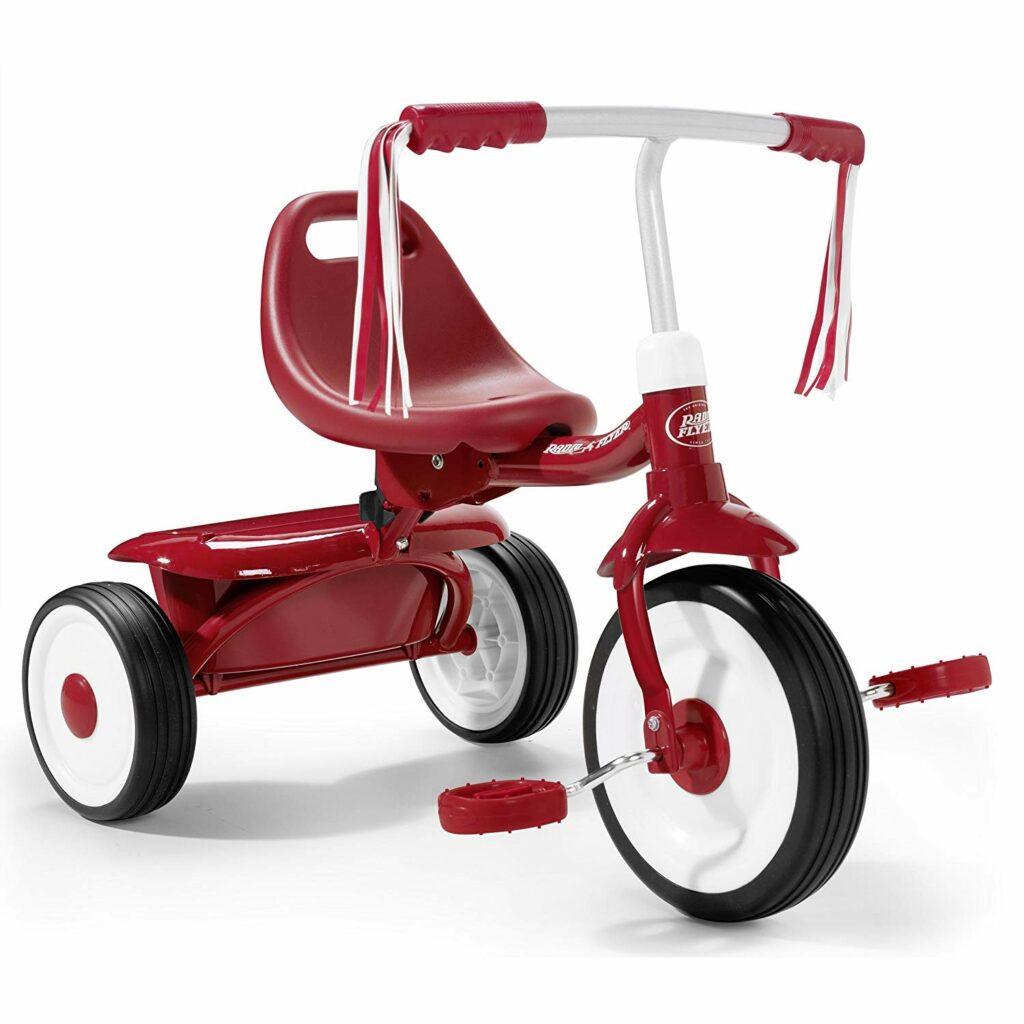 A toddler bike with adjustable seat