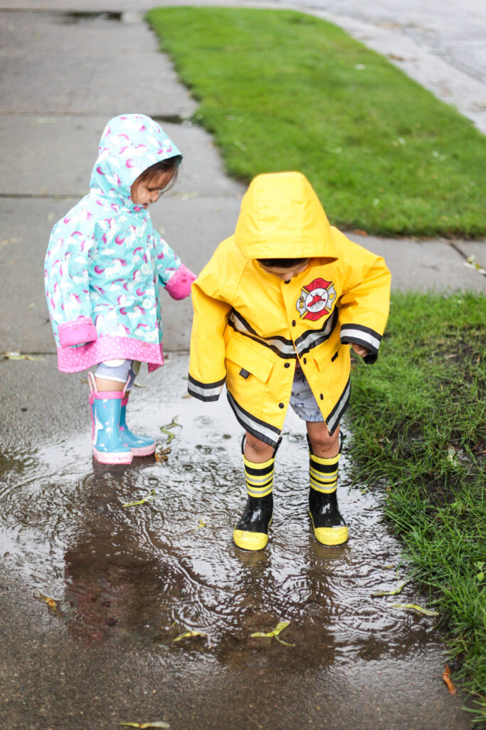Kids playing in puddle