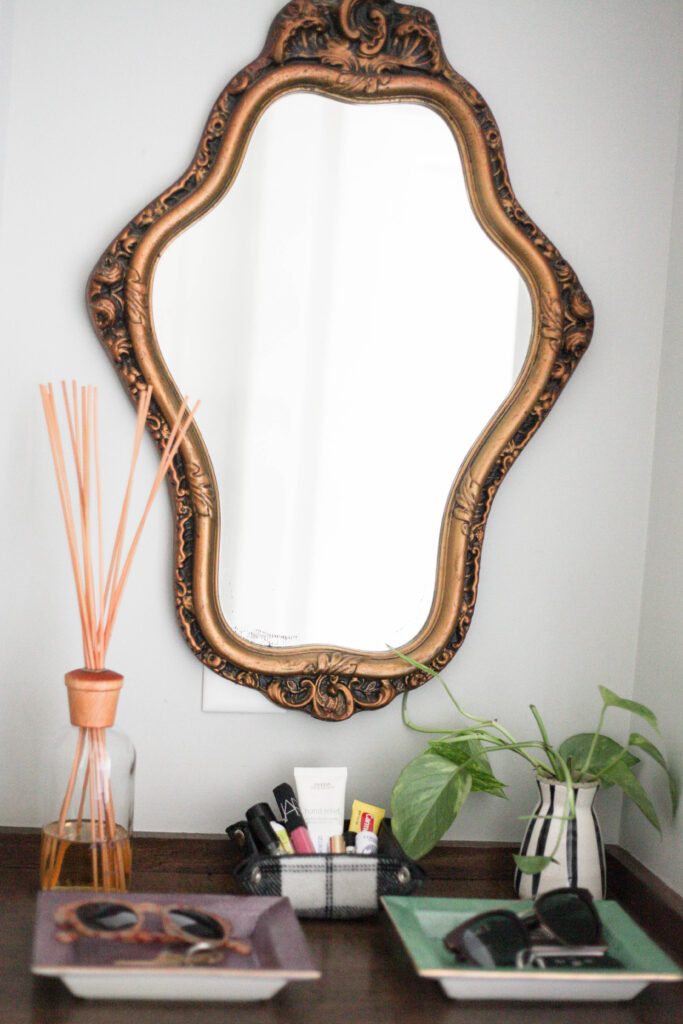 Simple gold mirror for entryway