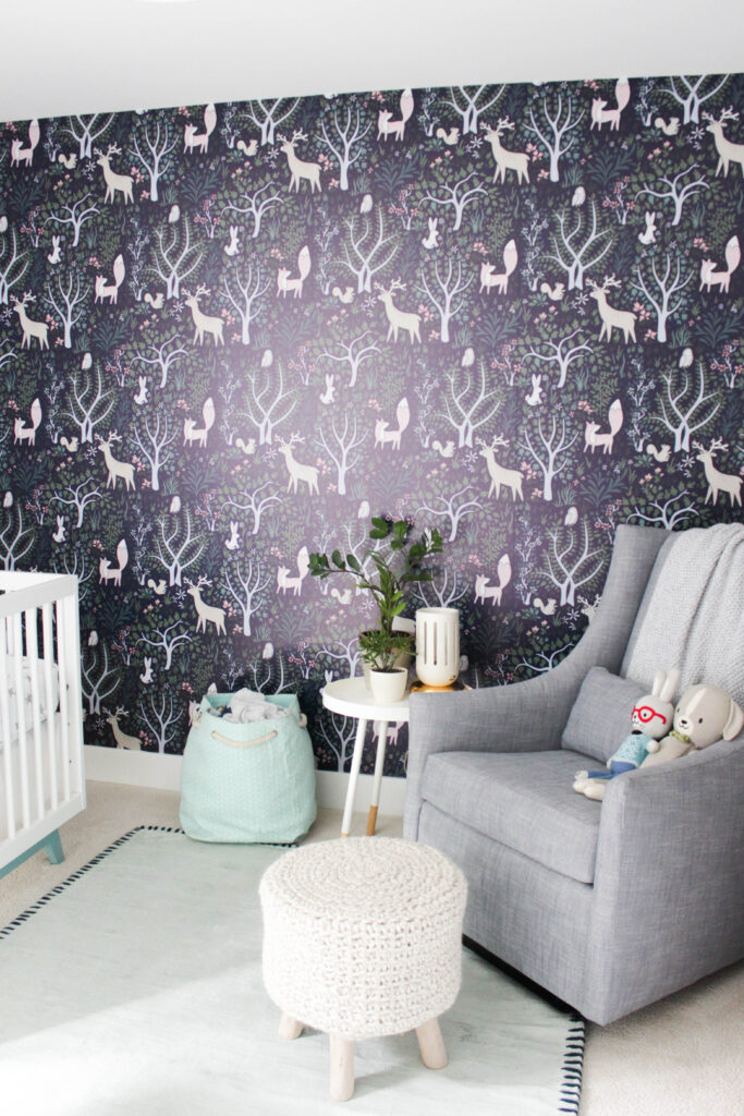 Woodland wallpaper in baby boy's nursery