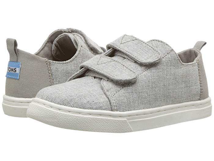 Grey TOMS shoes - TOMS are some of the best toddler shoes because of how easy they are to get on!