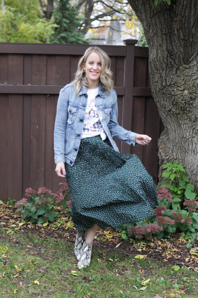 Amazon midi skirt with Able denim jacket and graphic tee