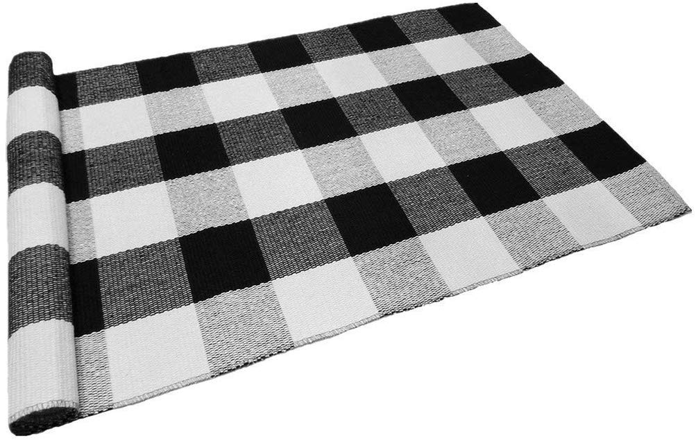 Fall outdoor black and white plaid rug and mat!