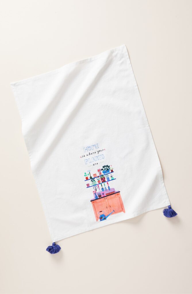 Home is where your plants are tea towel from Anthropologie