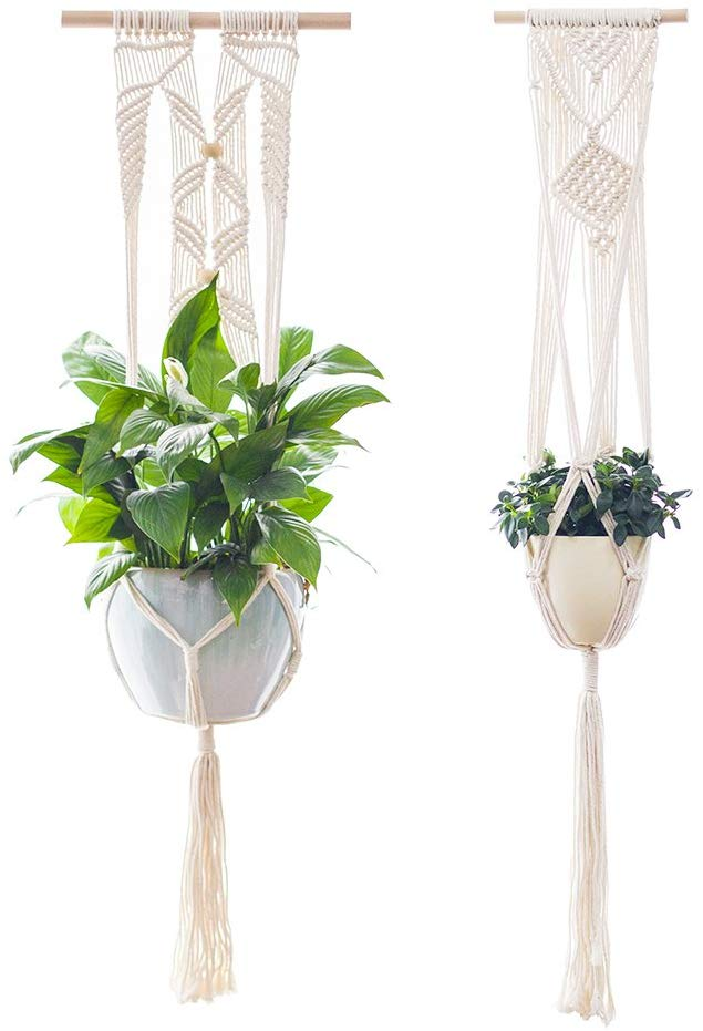 2 Macrame plant holders from Amazon