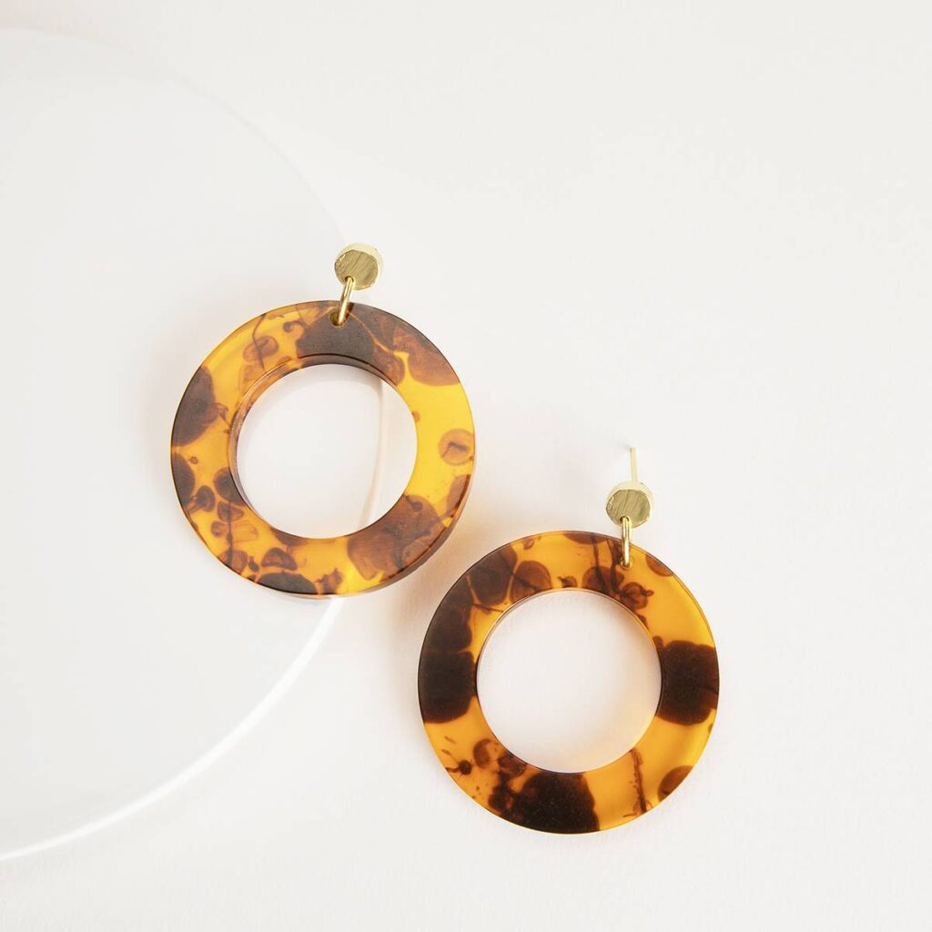 Tortoise Resin Circle Earrings (Sseko) $59.99