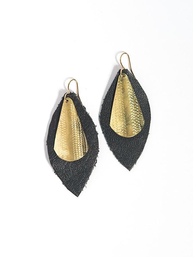 Artillery Shield Earrings - Brass + Silver (Fair Anita) $24