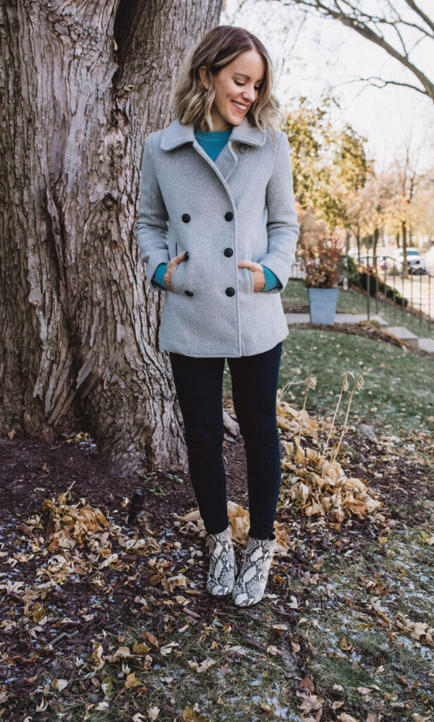 Hy-vee apparel - wearing grey button up jacket, jeggings and a blue sweater