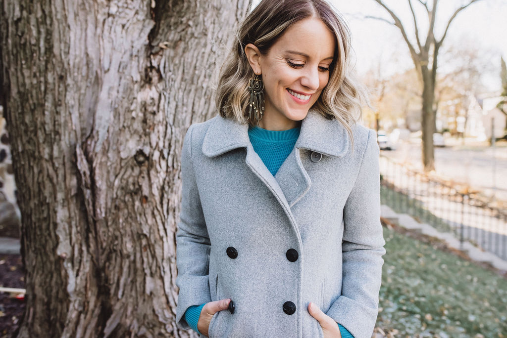 Grey jacket and blue sweater from Joe Fresh at Hy-Vee stores