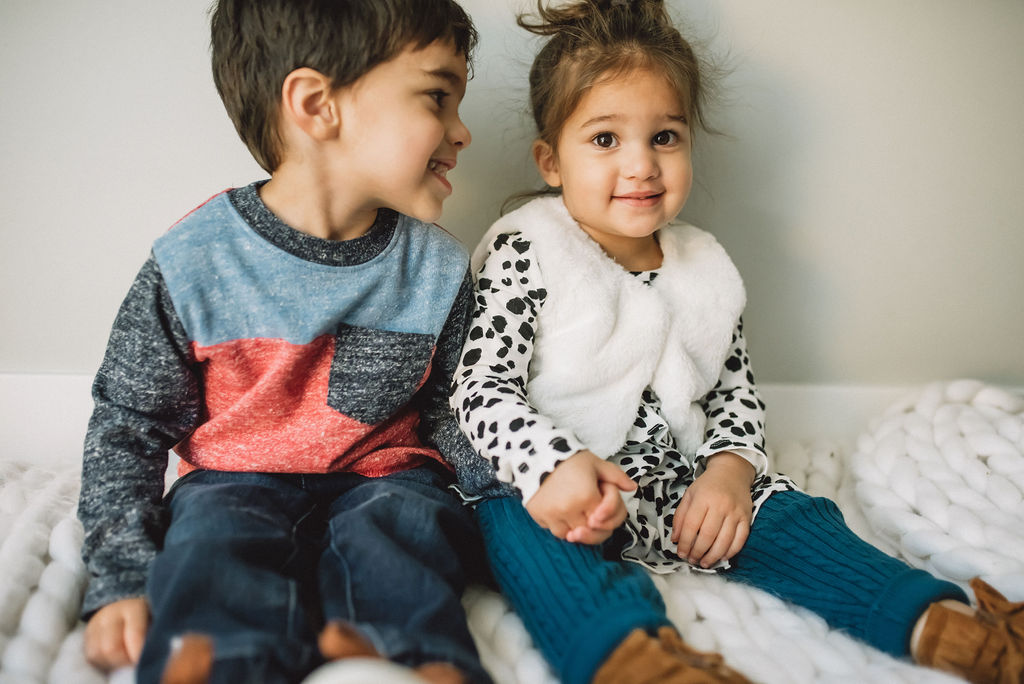 2 toddlers wearing Hy-vee's new apparel from Joe Fresh
