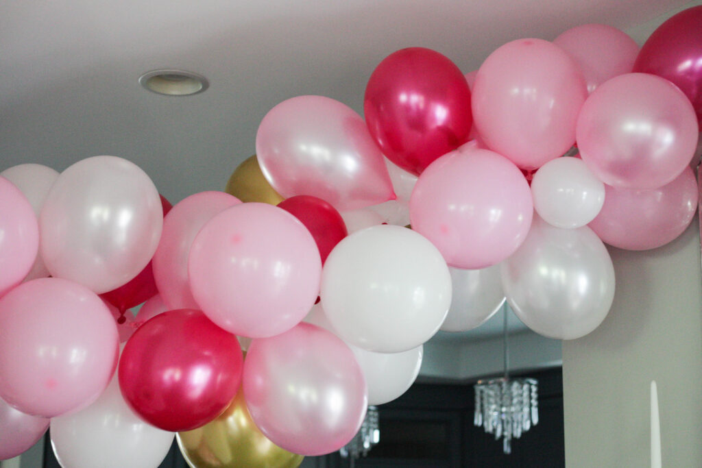 Pink, white and gold balloon arch!