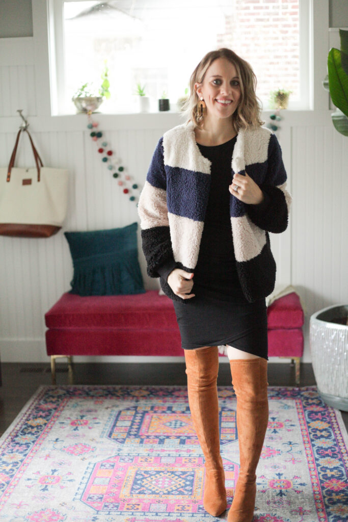 teddy jacket with black dress and over the knee boots