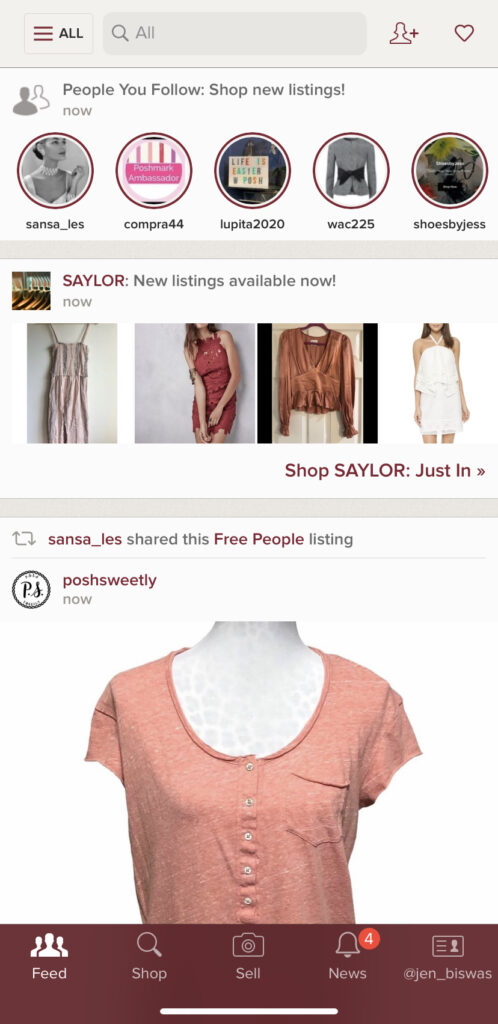 Sell your clothes yourself using Poshmark