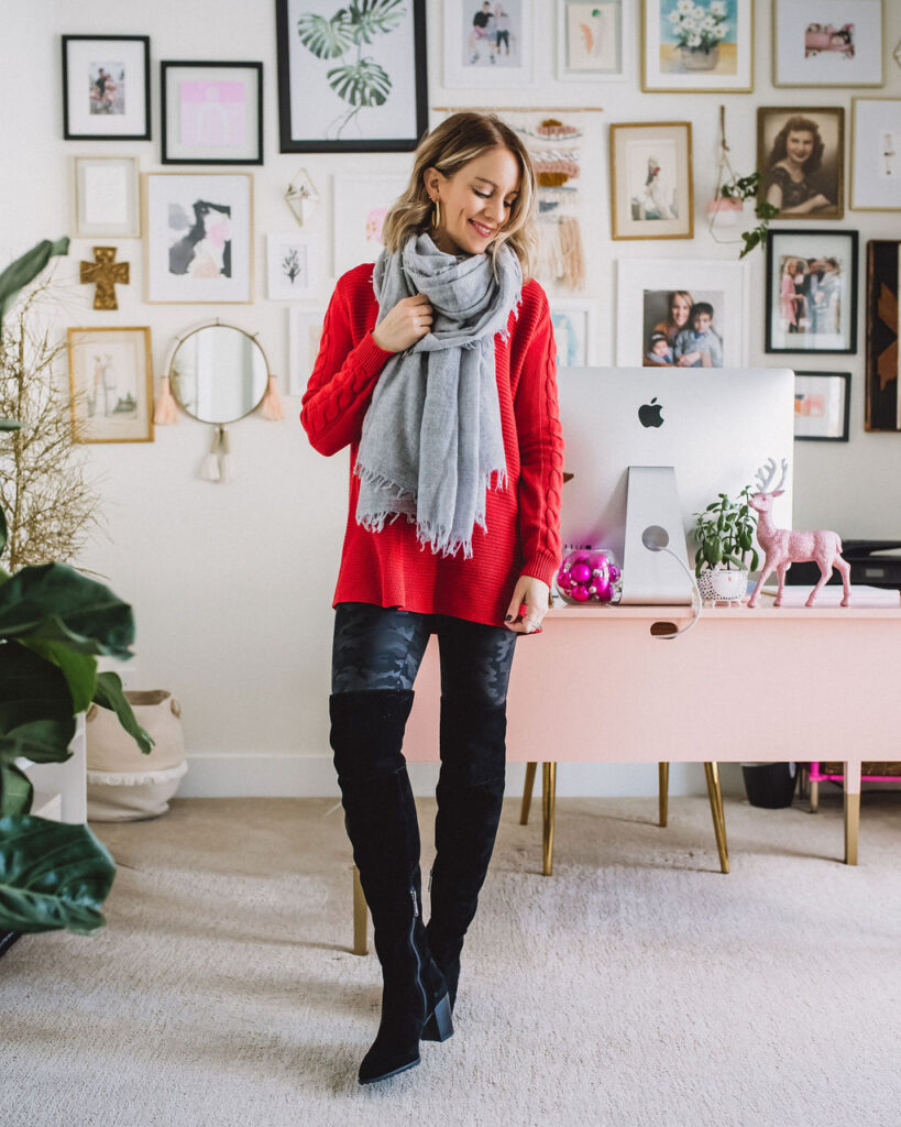 Work appropriate spanx leggings outfit with black over the knee boots, red sweater and grey scarf