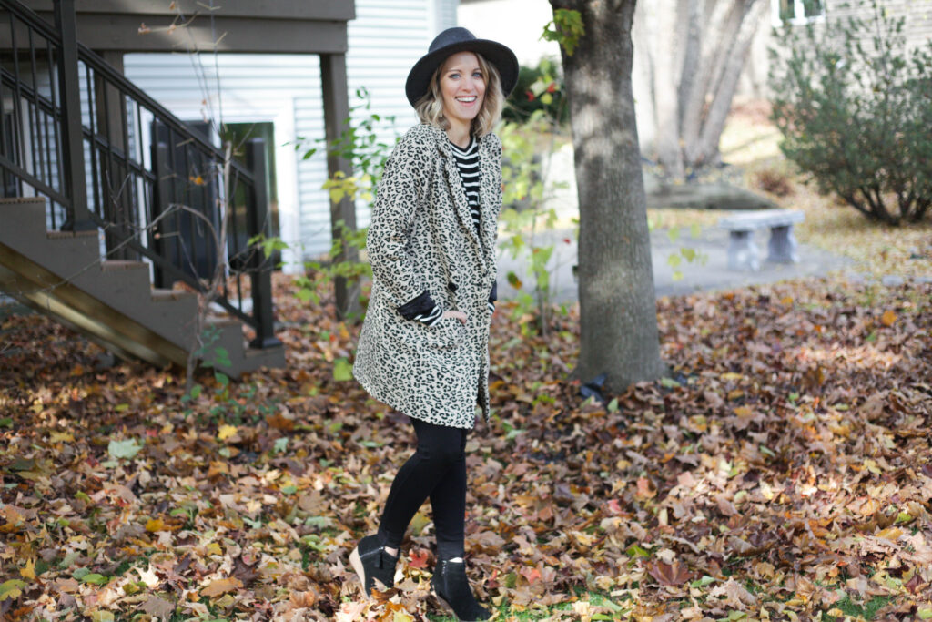 Sseko leopard jacket with Sseko leggings, Something Navy hat and Blando wedge booties