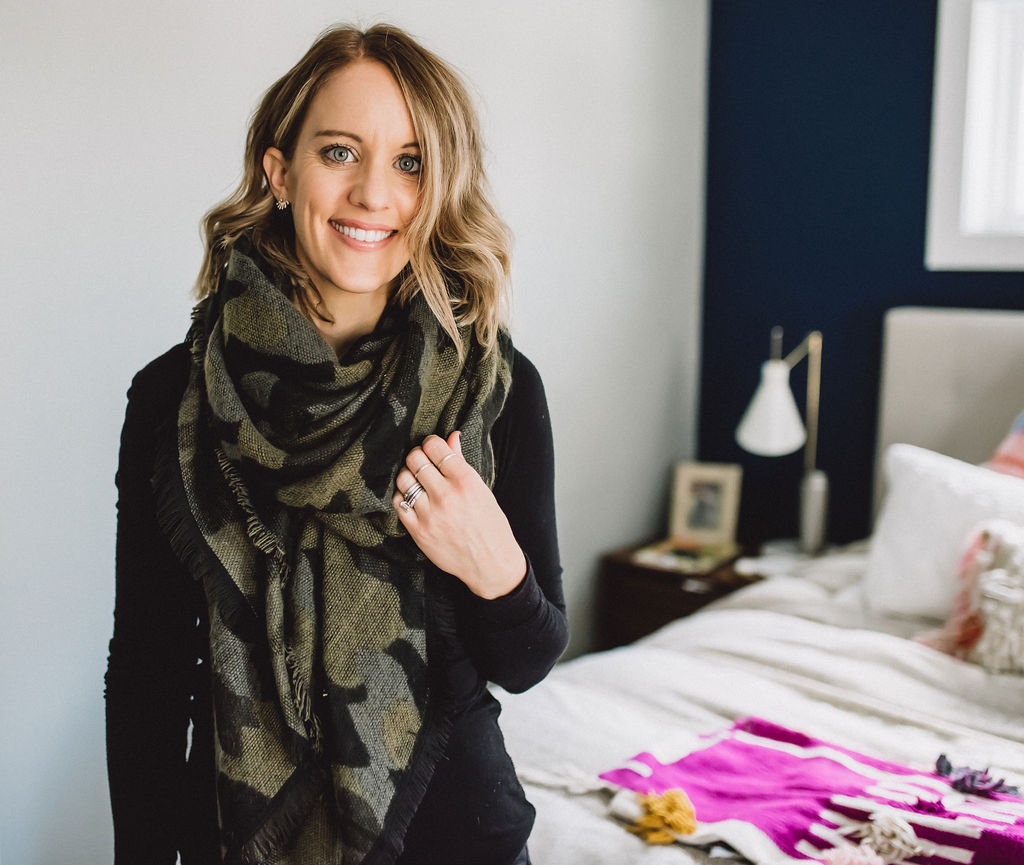 A simple way to wear a blanket scarf, looped around your neck once