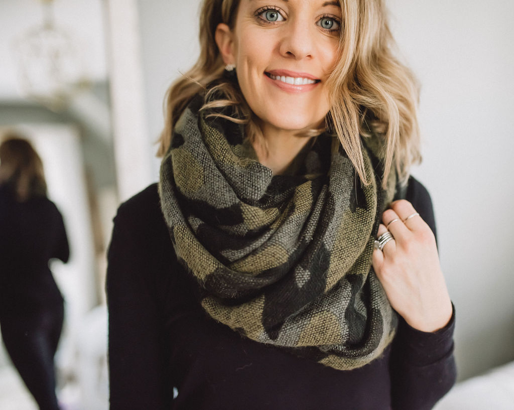 Tuck the ends of your blanket scarf in to create an infinity style look
