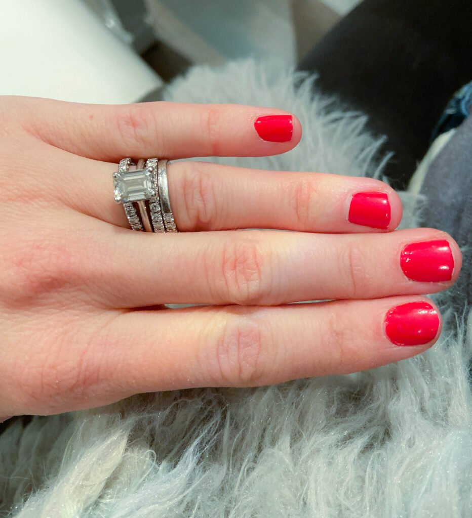 Red polish manicure