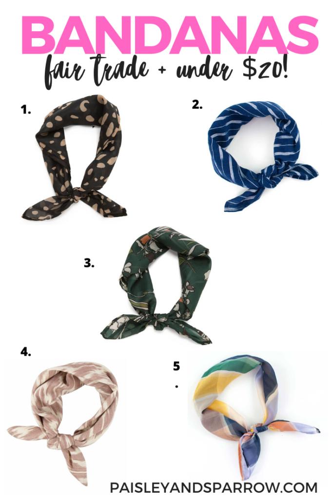 fair trade bandanas under $20