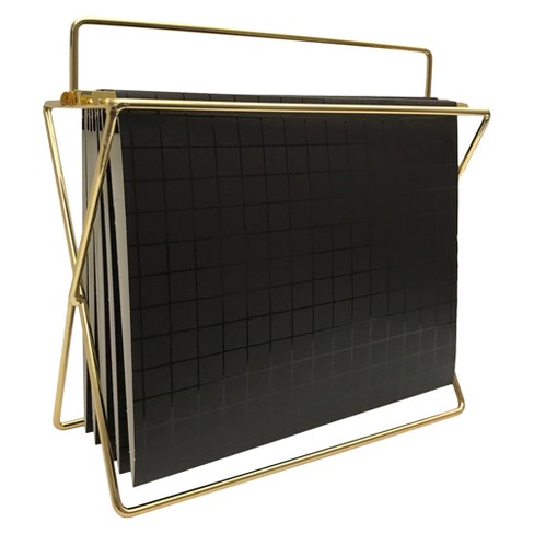 Black and gold hanging file holder from Target