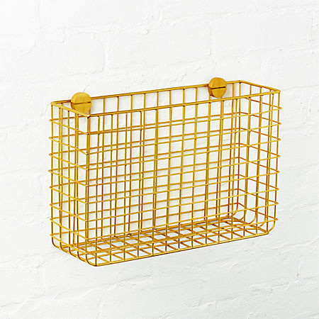 Grid brass magazine rack from cb2. A great way to stay organized in your office and home!