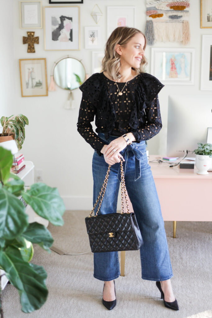 Dressy Outfit - Ruffle Black Top, Heels + Chanel Bag
