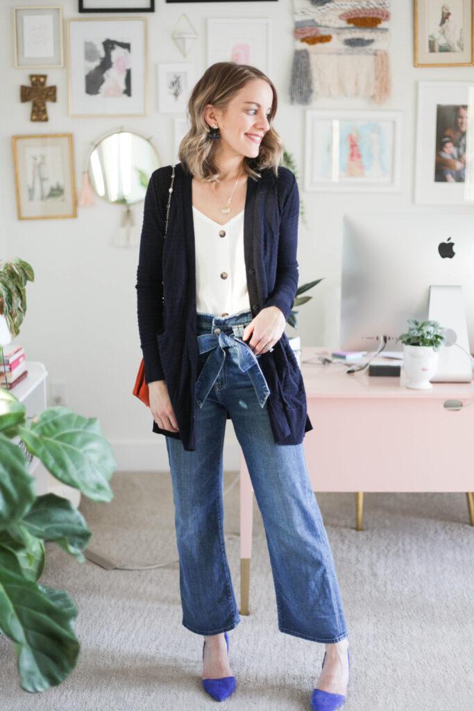 Work Outfit - Cardigan + Heels
