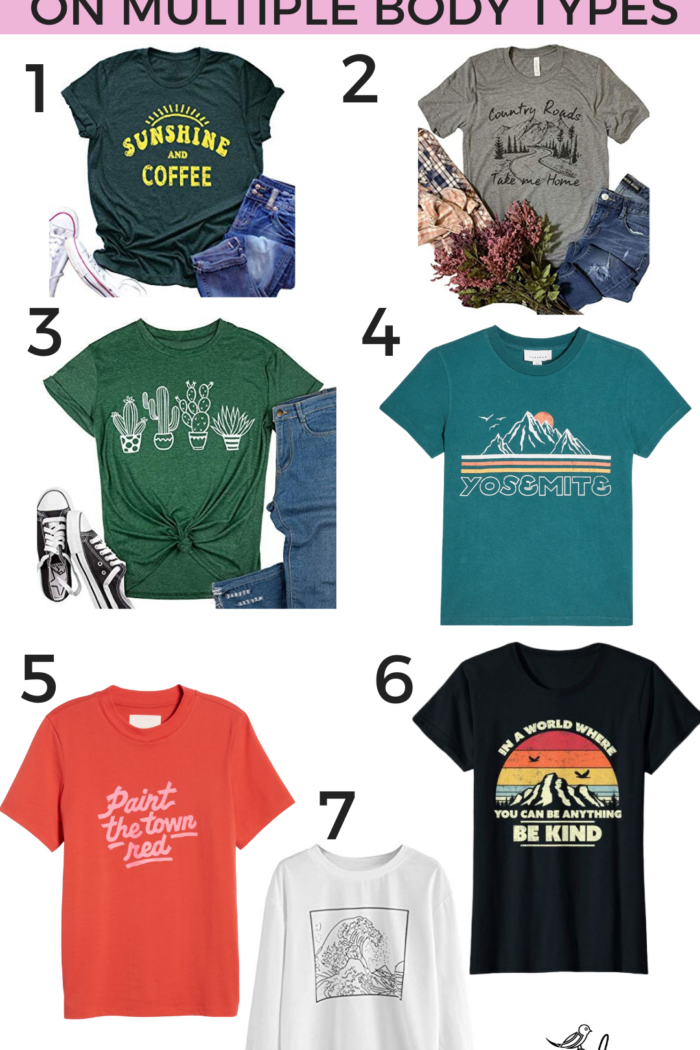 7 Graphic Tees on Different Body Types