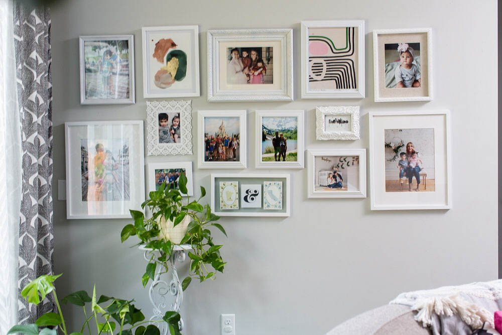A collection of all white frames